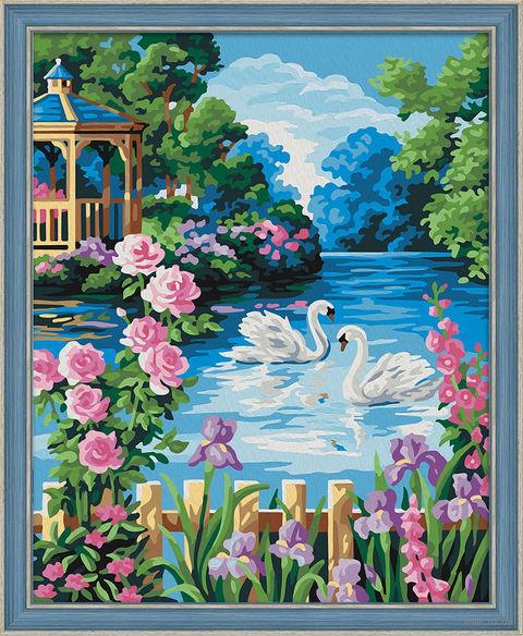 "Картина по номерам ""Беседка у озера"" (400х500 мм) — фото, картинка"