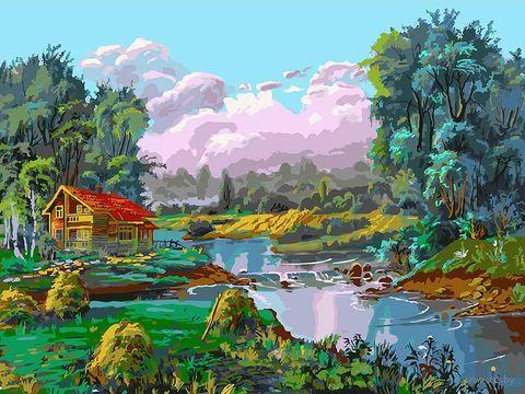 "Картина по номерам ""Стога у реки"" (300х400 мм) — фото, картинка"