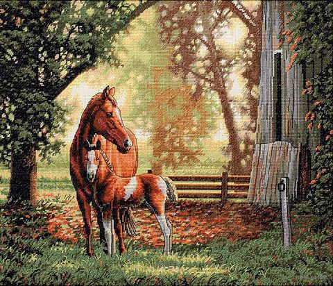 Вышивка крестом лошади с жеребенком