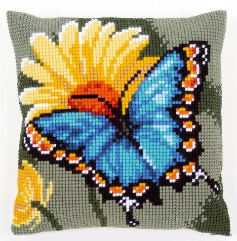 """Вышивка крестом """"Подушка. Бабочка и желтый цветок"""" (400х400 мм) — фото, картинка"""
