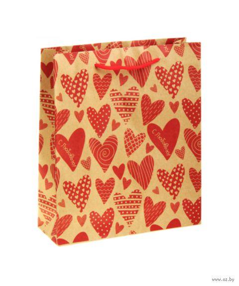"""Пакет бумажный подарочный """"Сердечки"""" (11х14х6 см; арт. 10772281; продается только в розничных магазинах OZ) — фото, картинка"""