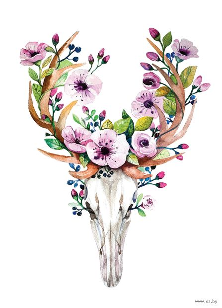"Открытка ""Рога и цветы"" — фото, картинка"