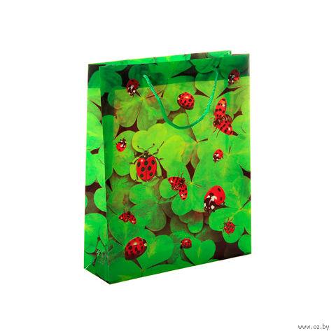 """Пакет пластиковый подарочный """"Божьи коровки"""" (36,5х28,5х10 см; арт. 10678300)"""