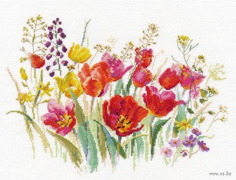 """Вышивка крестом """"Полевые тюльпаны"""" — фото, картинка"""