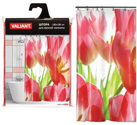 """Шторка для ванной """"Красные тюльпаны"""" (180х180 см) — фото, картинка"""