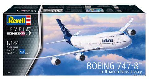 "Сборная модель ""Пассажирский самолет Boeing 747-8 Lufthansa ""New Livery"" (масштаб: 1/144) — фото, картинка"