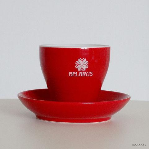 """Чашка с блюдцем """"BELARUS"""" (красная, 150 мл)"""
