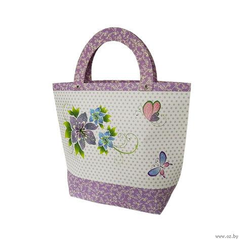 "Пакет бумажный подарочный ""Цветы с бабочками"" (32х27х11 см; арт. 10466073)"