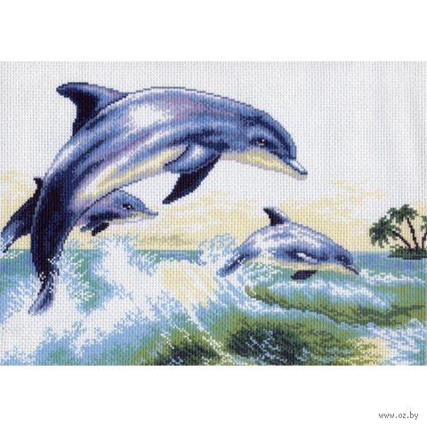 """Канва с нанесенным рисунком """"Дельфины"""""""