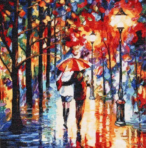 "Вышивка крестом ""Прогулка под дождем"" (400x410 мм) — фото, картинка"