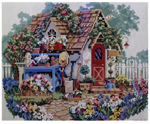 """Алмазная вышивка-мозаика """"Домик в цветах"""" (400x500 мм) — фото, картинка"""