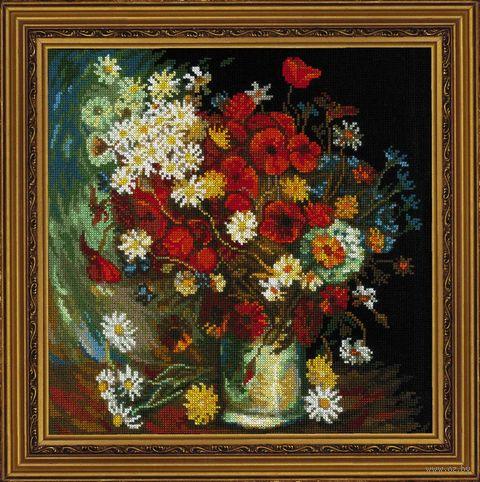 "Вышивка крестом ""Ван Гог. Ваза с маками, васильками и хризантемами"" (300х300 мм) — фото, картинка"