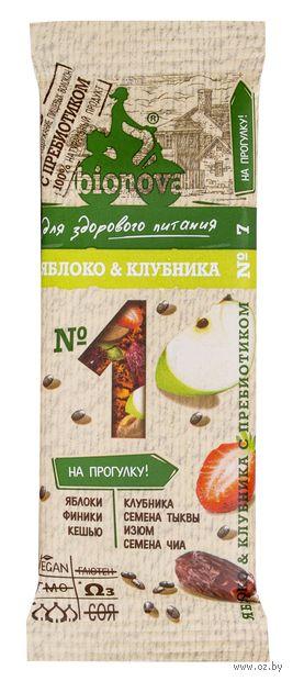 "Батончик ""Bionova. Яблоко и клубника"" (35 г) — фото, картинка"