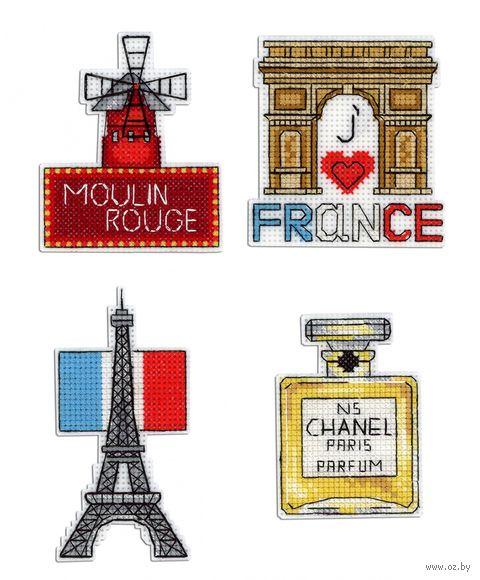 """Вышивка крестом """"Франция"""" (50х100 мм; на магните) — фото, картинка"""