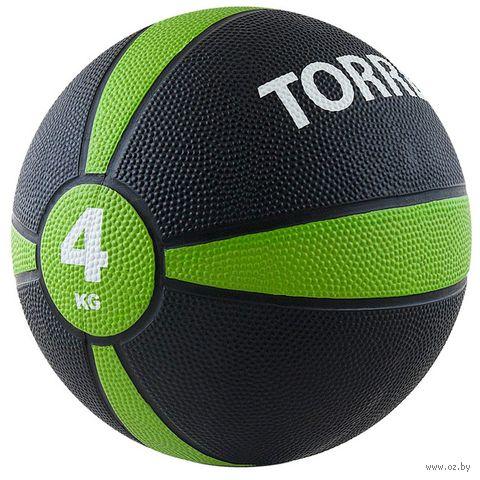 Медбол 4 кг (чёрно-зелёно-белый; арт. AL00224) — фото, картинка