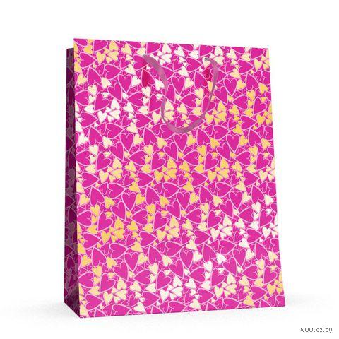 """Пакет бумажный подарочный """"Сердечки"""" (26x32,5x13 см) — фото, картинка"""
