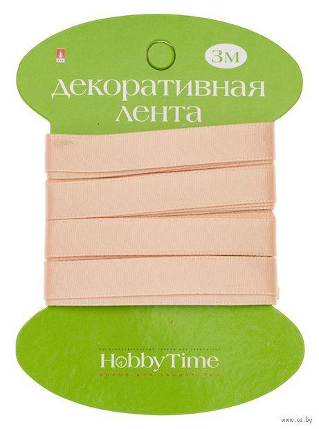 """Лента атласная """"Hobby Time"""" (персиковая; 9 мм; 3 м) — фото, картинка"""