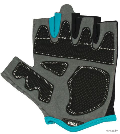 Перчатки для фитнеса SU-117 (S; чёрные/серые/голубые) — фото, картинка