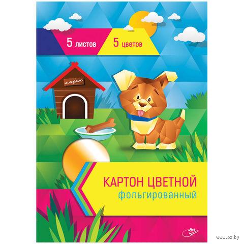 Картон цветной гофрированный фольгированный А4 (5 цветов; 5 листов)