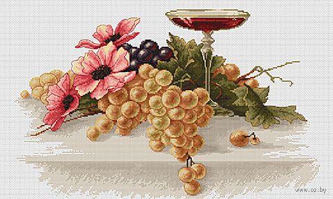 """Вышивка крестом """"Цветы и виноград"""" (380х250 мм) — фото, картинка"""