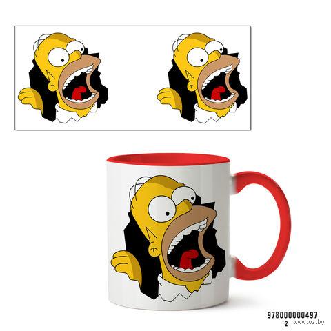 """Кружка """"Симпсоны"""" (красная; арт. 497) — фото, картинка"""