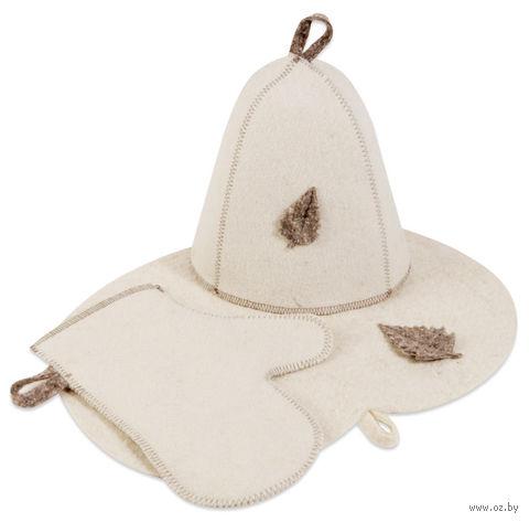 """Набор для сауны """"Шапка, рукавица, коврик"""" (белый) — фото, картинка"""