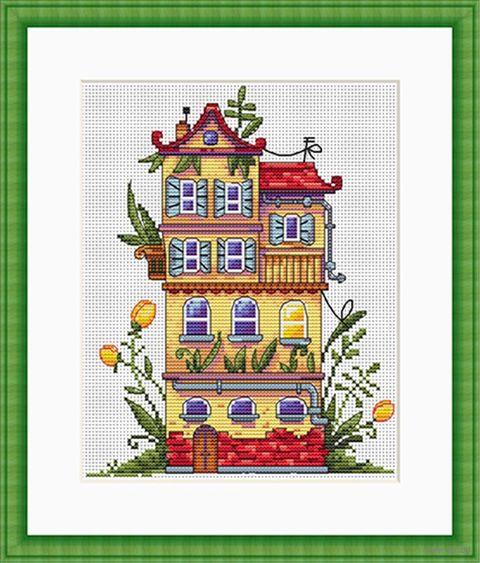 """Вышивка крестом """"Весенний домик"""" (190х140 мм) — фото, картинка"""