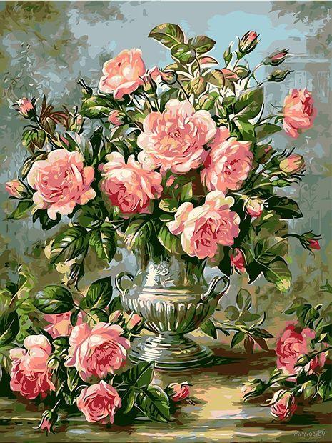 "Картина по номерам ""Букет розовых роз"" (400х500 мм) — фото, картинка"