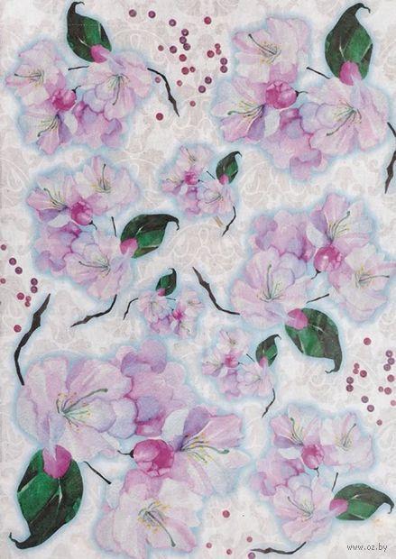 """Бумага для декупажа рисовая """"Цветы яблони"""" (210х300 мм) — фото, картинка"""