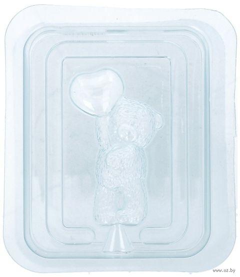 """Форма для изготовления мыла """"Медвежонок Тедди стоит с шариком сердечком"""" — фото, картинка"""
