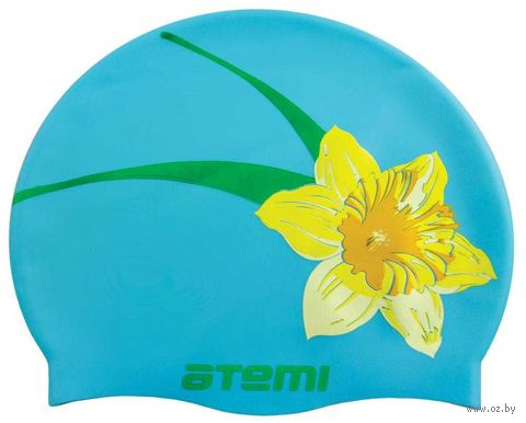 Шапочка для плавания (голубая; цветок; арт. PSC415) — фото, картинка