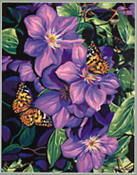 """Картина по номерам """"Клематисы и бабочки"""" (360х280 мм; арт. DMS-91403)"""