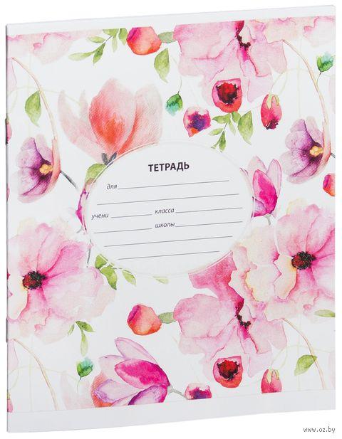 """Тетрадь в клетку 12 листов """"Цветы. Цветочный узор"""""""