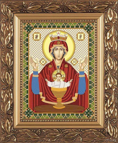 """Вышивка бисером """"Богородица. Неупиваемая чаша"""" (130х170 мм) — фото, картинка"""