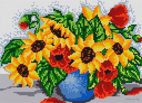 "Алмазная вышивка-мозаика ""Маки и подсолнухи"" (360х260 мм) — фото, картинка"