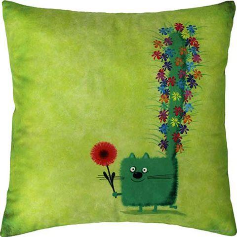 """Подушка """"Зелёный кот"""" (35x35 см; зелёная) — фото, картинка"""