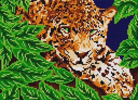 """Алмазная вышивка-мозаика """"Леопард в растительности"""" (360х260 мм) — фото, картинка"""