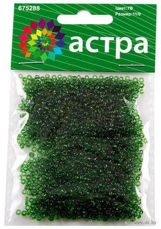 Бисер прозрачный №7B (зеленый; 11/0) — фото, картинка