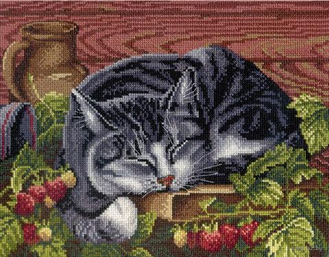 """Вышивка крестом """"Спящий котик"""" (220x280 мм) — фото, картинка"""