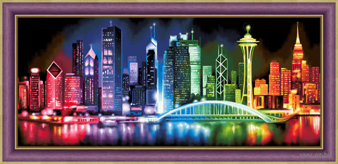 "Алмазная вышивка-мозаика ""Сияющий мегаполис"" (700х300 мм) — фото, картинка"