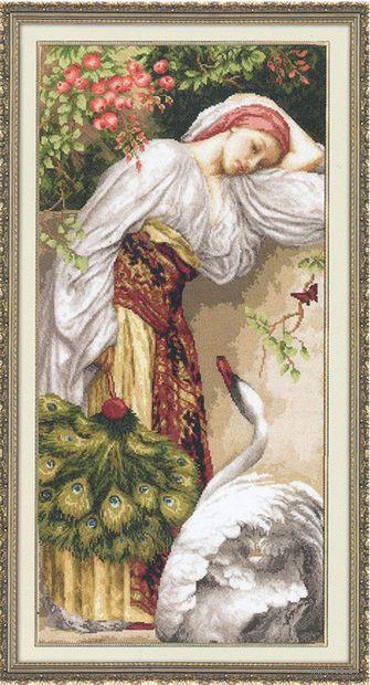 """Вышивка крестом """"Девушка с лебедем"""""""