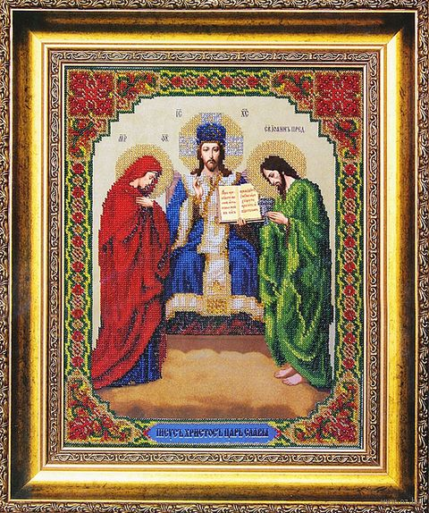 """Вышивка бисером """"Иисус Христос, Царь Славы"""""""