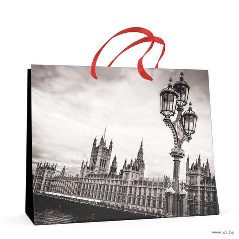 """Пакет бумажный подарочный """"Города"""" (32,5x26x13 см) — фото, картинка"""