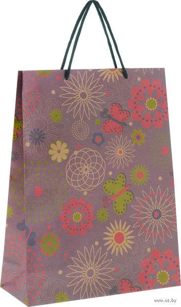 """Пакет бумажный подарочный """"Цветочный круговорот"""" (24х33х8 см; арт. 43729) — фото, картинка"""