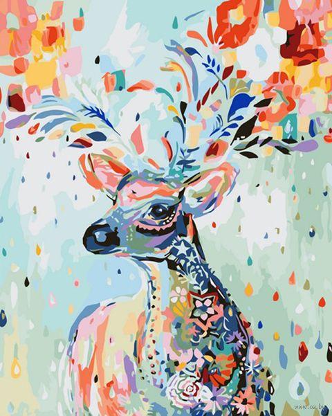 """Картина по номерам """"Цветочный олень"""" (500х650 мм) — фото, картинка"""