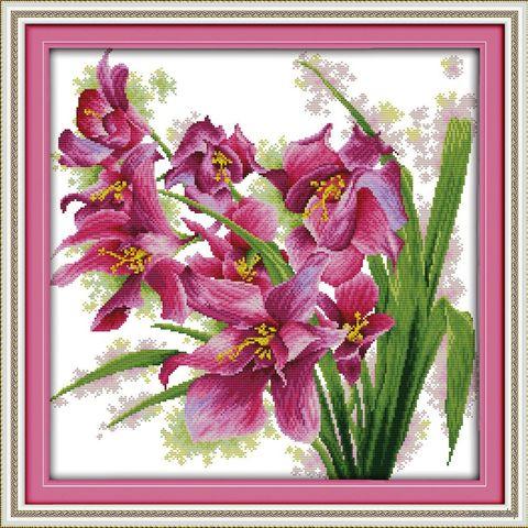 """Вышивка крестом """"Лиловые орхидеи"""" (400x400 мм) — фото, картинка"""