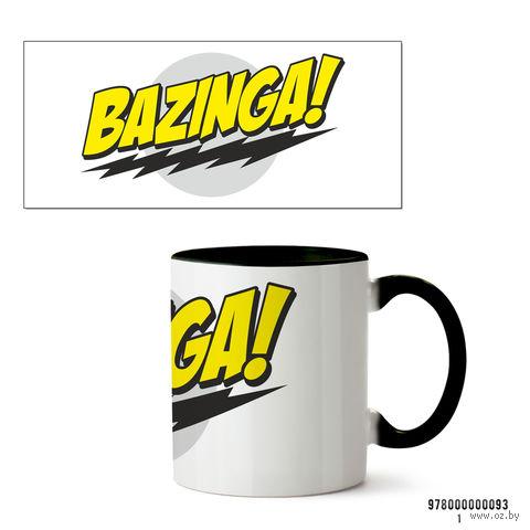 """Кружка """"Теория большого взрыва. Bazinga"""" (093, черная)"""