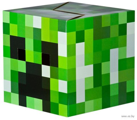 Маска-голова из картона. Minecraft Creeper Head