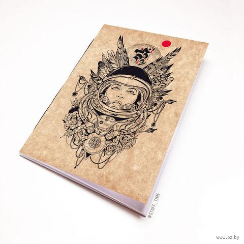 """Блокнот крафт """"Девушка космонавт"""" А7 (454)"""