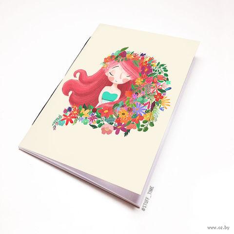 """Блокнот белый """"Девушка с цветами"""" А5 (939)"""